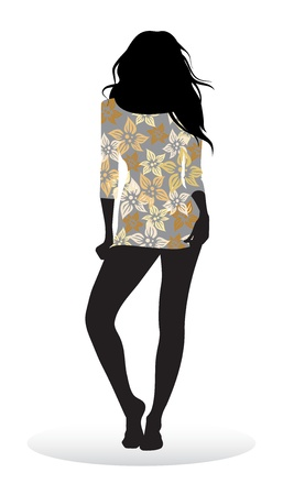 teen silhouette: Vector silhouette of a girl posing