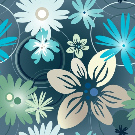 Vector illustration floral pattern in blue Illustration