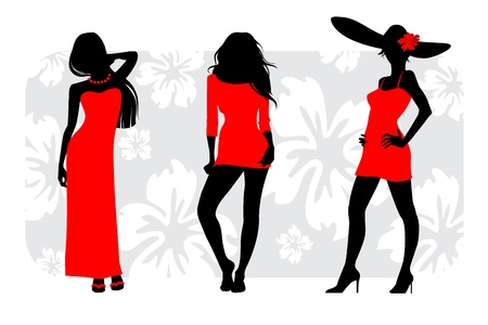 curvy: Vector illustration of a three girls silhouettes