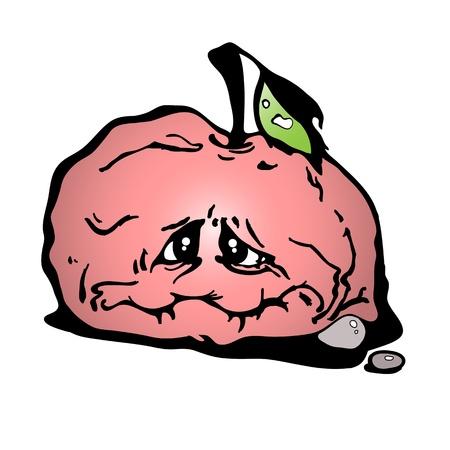 sluggish: Vector illustration of a red sluggish apple