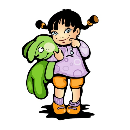 Vector illustration of a girl with green bunny Illustration