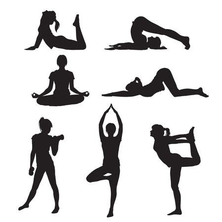 Vector illustration of a girl yoga silhouette