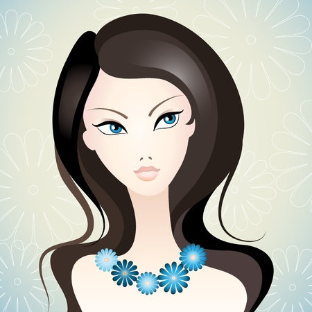 beautiful girl face: Vector illustration of a young beautiful girl  Illustration
