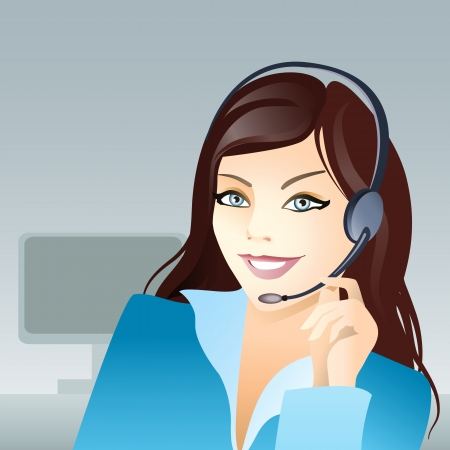 switchboard: Vector illustration of a young girl with headset