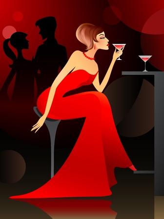 soir�e: Jeune femme ayant un cocktail au bar