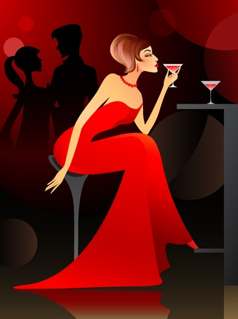 evening dress: Young woman having cocktail at the bar