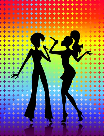 Vector illustration of a pair young girs singing Vector