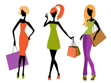 chicas de compras: Ilustraci�n vectorial de un per�odo de tres ni�as compras Vectores