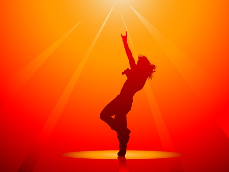Hard rock singer silhouette on red in vector Illustration