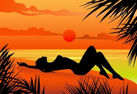 Vector illustration of a girl lying on the beach silohuette Vector