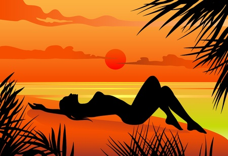 beach sunset: Vector illustration of a girl lying on the beach silohuette