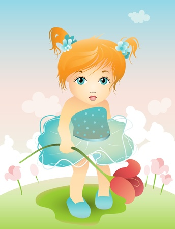 pretty smile: Vector illustration of a girl with tulip Illustration