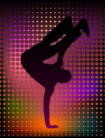 Vector illustration of a young man breakdancer Illustration