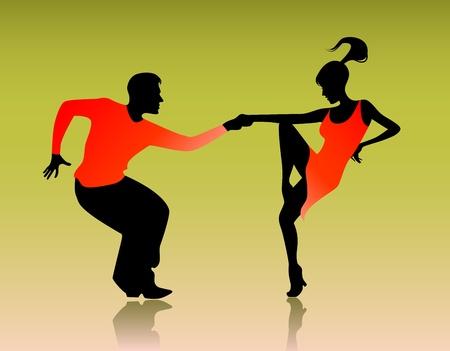 bailarines de salsa: Ilustración vectorial de una pareja que baila en verde