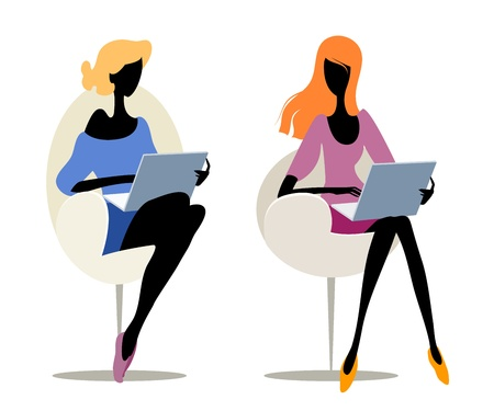 Pair silhouettes of a girls with laptops