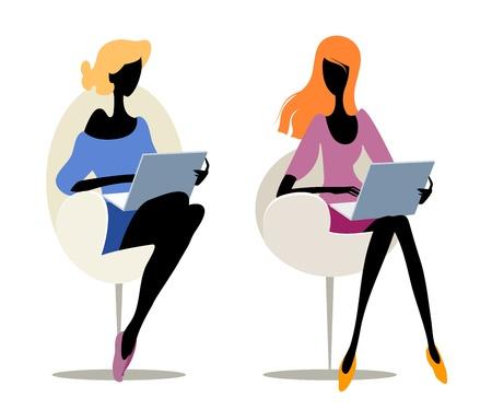 mujeres sentadas: Par de siluetas de chicas con ordenadores portátiles Vectores