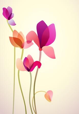 traino: Illustrazione vettoriale di cinque fiori luminosi selvatici Vettoriali