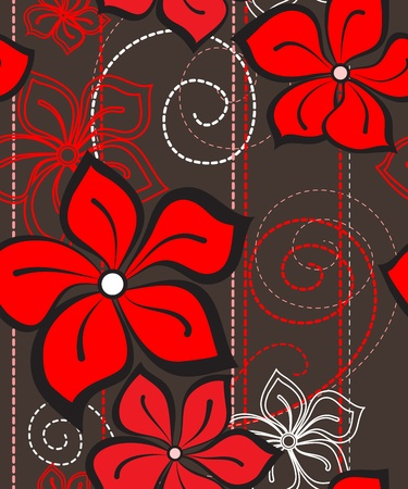 floral ornaments: Vector illustration of a floral seamless pattern