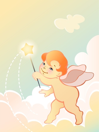 children of heaven: Vector illustration of a angel baby with wand Illustration