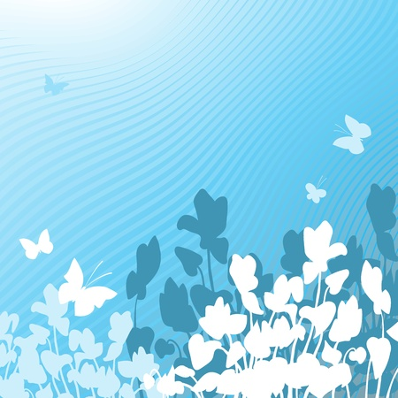Vector illustration of a blue floral background