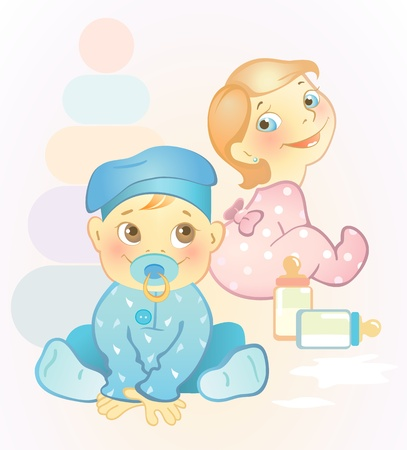 Vector illustration of two babies, girl and boy