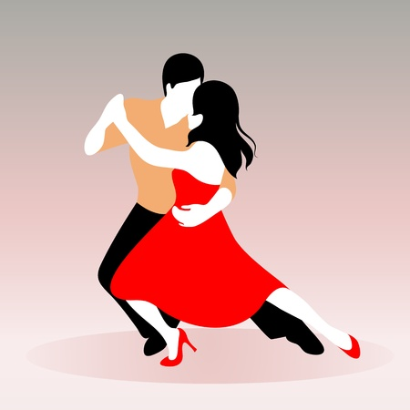Vector illustration of a young couple dancing