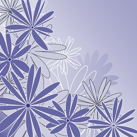 Vector illustration of a blue background wit flowers Stock Vector - 12991722