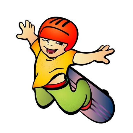 Vector illustration of a boy on skateboard Vectores
