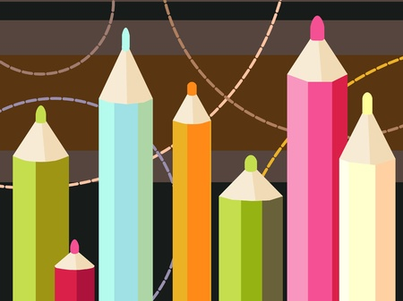 Vector illustration of a seven colored pencils