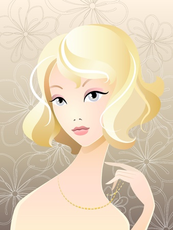Vector illustration of young girl blonde portrait