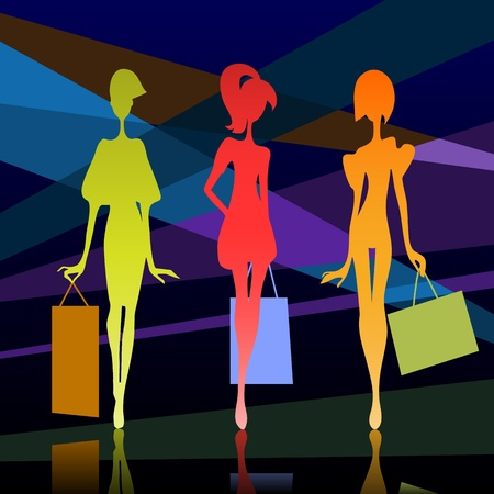 Vector illustration of a three girl silhouette with bags