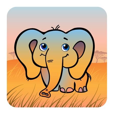 slow: Vector illustration of a friendly elephant in savanna