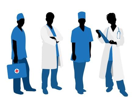 dottore stetoscopio: Illustrazione vettoriale di sagome di quattro medici su bianco
