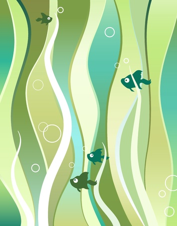Vector illustration of a fishes and algae