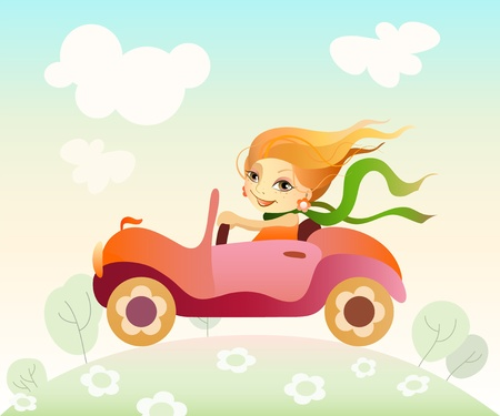 Vector illustration  of a girl driving car