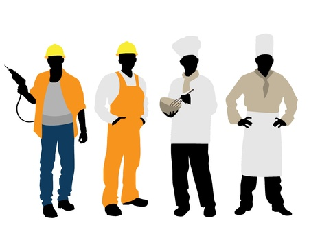 construction worker cartoon: Vector illustration of a cooks and builders silhouettes Illustration
