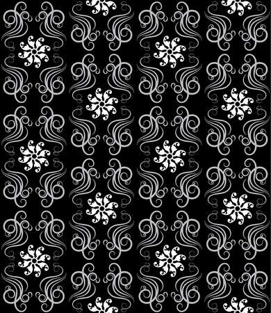 Vector illustration  of a seamless pattern in black and white