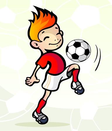 kicking ball: Ilustraci�n vectorial de un jugador de f�tbol con la pelota