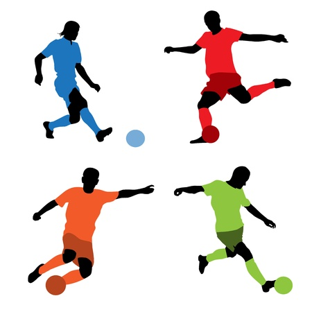 kicking ball: Vector illustration of a four soccer players silhouettes