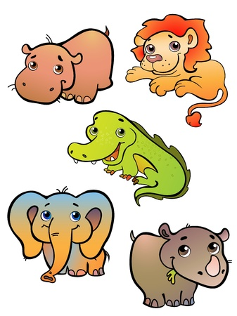 Vector illustration  of a five african animals on white Vector