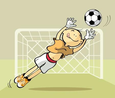 torwart: Vector Illustration eines Torwarts den Ball zu fangen Illustration