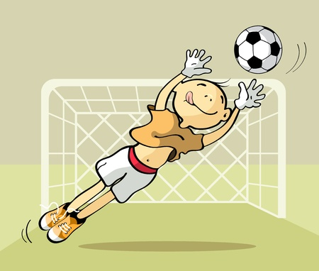 Vector illustration of a goalkeeper catching the ball Vector