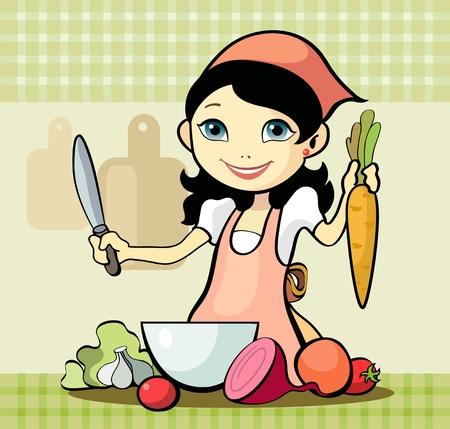 chef caricatura: Vector ilustración de una chica se prepara una comida