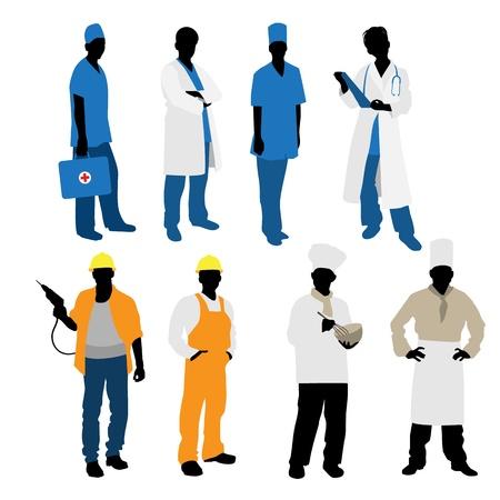 obrero caricatura: Vector ilustraci�n de un siluetas de profesiones para hombre