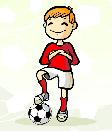 little league: Vector illustration  of a soccer player with ball Illustration