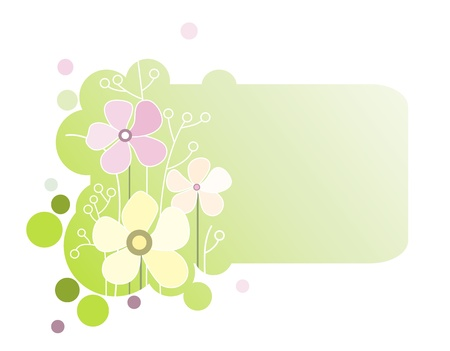 Vector illustration of a green banner with flowers Illustration