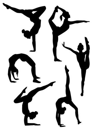 gimnasia aerobica: Vector ilustración de un siluetas de las niñas gimnastas Vectores