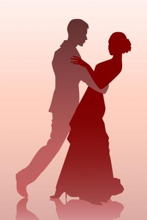 Ilustración vectorial de una joven pareja bailando Ilustración de vector