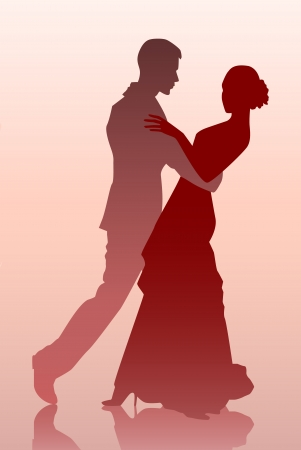 Vector illustration d'un jeune couple danse