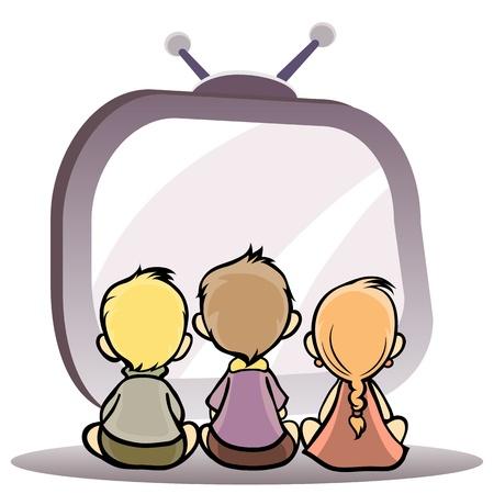 Vector ilustración de un hijos viendo la televisión